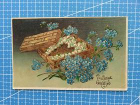 美欧邮驿--花卉盒子图--1909年美国贴邮票实寄明信片--高级彩粉工艺