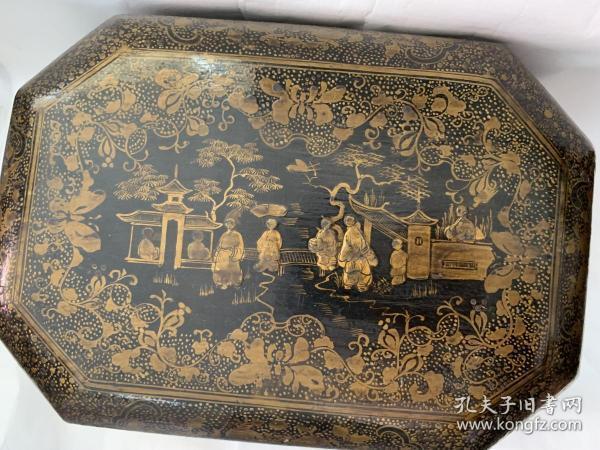 淸中期庭院仕女人物漆盒,仕女、亭台楼阁,构成一幅绝美风景画面,非常精美的漆盒,保包保真