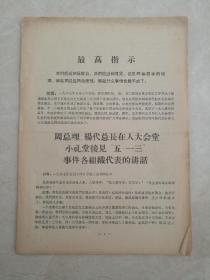 周总理,杨代总长在人民大会堂小礼堂接见五一三事件各组代表讲话