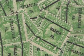 美国早期预销邮票,建国国父富兰克林,各地邮戳,一枚