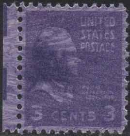 美国邮票,1938年建国国父宪法起草人杰斐逊总统,印刷变体