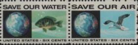 美国邮票,1970年环境保护,地球、水、鱼、飞鸟,2连票,一组价