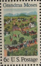 美国邮票,1969年绘画人物摩西奶奶,1全,一枚价