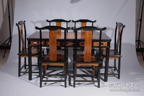 紫光檀镶金丝楠木餐桌(一桌六椅)
