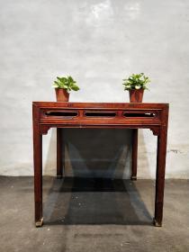 民国老榆木开光八仙桌,纯手工雕刻精细独特古朴,全品包老无松动,尺寸品相如图
