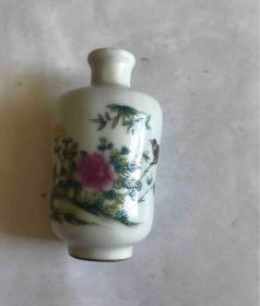 花卉竹鸟小瓷瓶一个-52645