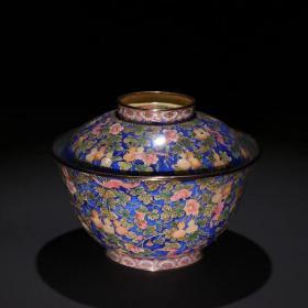 清代 铜画珐琅多子多福盖碗