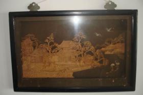 福州特色闽都古韵软木画挂件中国园林风光(有框)庆典乔迁出国商务25×38.5×2.5cm