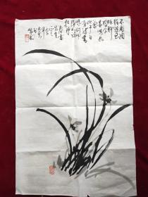 著名画家康太云兰花图原作