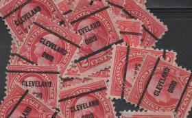 美国早期预销邮票,华盛顿总统,克利夫兰邮戳 ,一枚