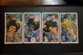 1980年年历卡、年历片—绢人女娃娃(宝塔牌油墨 杭州油墨厂 全套4枚 )