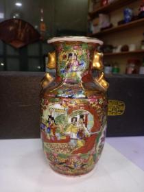广彩花瓶,高16