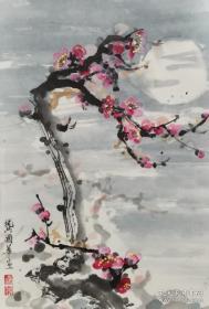 王福厂、陶冷月等弟子、著名老书画家 龚国华 精美国画小品《冷梅》一幅(纸本托片,钤印:国华)HXTX324973