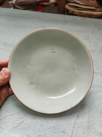 清代豆青釉盘  一磕一线