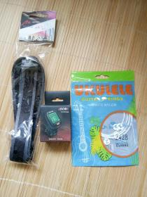 尤格利利夹式校音器(有说明书、电池)+琴弦(一套四根)+一条挂带三种合售