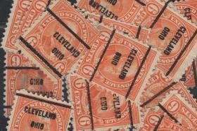美国早期预销邮票,20任总统加菲尔德,克利夫兰邮戳,一枚