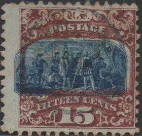 美国邮票,1869年哥伦布登陆美洲,探险发现新大陆,套色移位变体