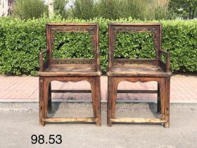 清代玫瑰椅,榆木全品,做工考究,皮壳老辣,难得,尺寸98.53cm