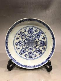 大清雍正年制款 手绘青花八宝寿字薄胎盘大盘 盘口直径约19.9厘米,高约4厘米,完美品,1200包邮。
