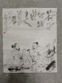 国画水墨人物 荷净纳凉图 原稿手绘真迹 画心软片