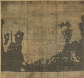 【复印件】仿真地图: 混一疆理历代国都之图,由两幅早期的中国地图混编而成,高 158.5 厘米、宽 168.0 厘米