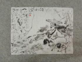 国画水墨画小品 渔者 画心软片原稿手绘真迹