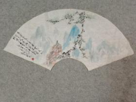国画山水扇面 软片画心 手绘原稿真迹