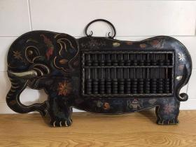 旧藏乡下收来的老木胎漆器账房算盘挂屏《积祥账房》招财象挂扁镇宅摆件长61厘米宽32厘米,厚3厘米