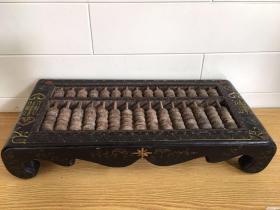 旧藏乡下收来的老木胎漆器账房台式算盘《双寿》桌式算盘摆件可正常使用长50厘米宽24厘米