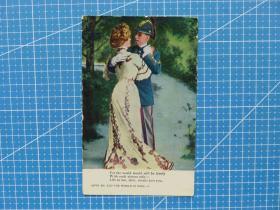美欧邮驿--军人情侣爱情图-语:生活就是你-1910年美国贴邮票实寄明信片--照片版