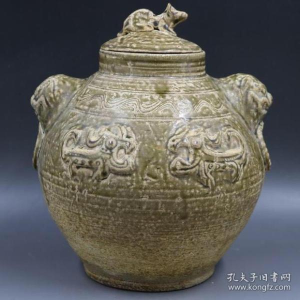 商朝 越窑 雕刻虎头盖罐