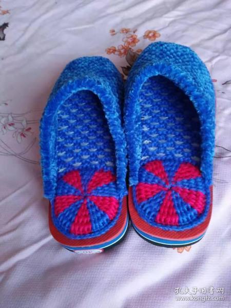 手工编织拖鞋(大号)蓝【适合40码】(包邮)