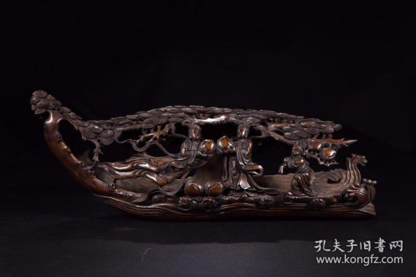 清代:竹雕仙人乘槎摆件