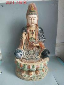 唐三彩雕观音菩萨佛像