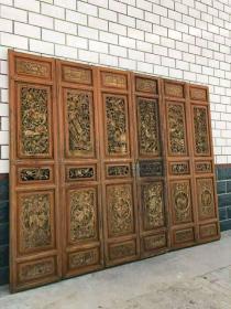民国时期,满雕工精品隔扇一套6片,纯手工雕刻,雕工精细,完整。尺寸高226单片宽47。