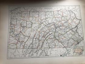 1885年 美国宾夕法尼亚州地图
