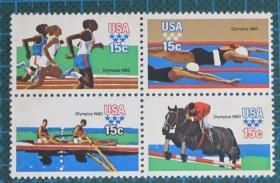 美国邮票-----1980年 莫斯科第22届夏季奥运会(四方连)