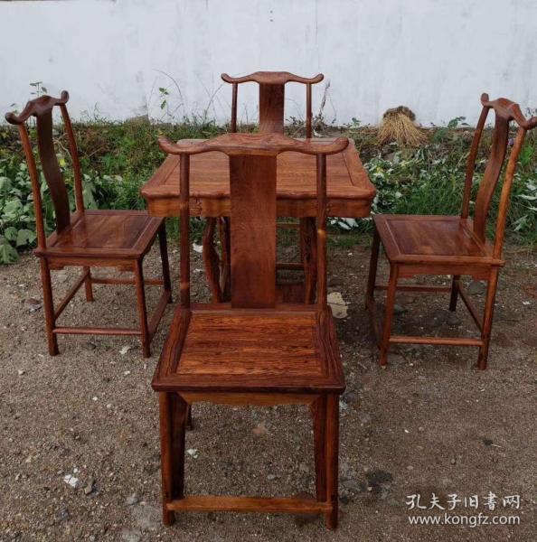 黄花梨,博古图方桌四椅(5件套)