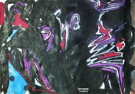 青年书画家胡子彩墨抽象绘画作品《大道道常》