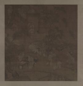 【复印件】仿真图轴:柳荫群盲图轴,南宋后期风俗画的代表之一,纵:72.25厘米,横:69.37厘米