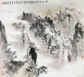 安徽著名画家裴希明精品山水斗方