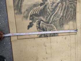 """名人字画;山水画卷轴装裱""""张先斋""""款;飞流直下三千尺1985年97厘米*47厘米"""