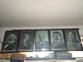 (文革时期丝织品)五大伟人像