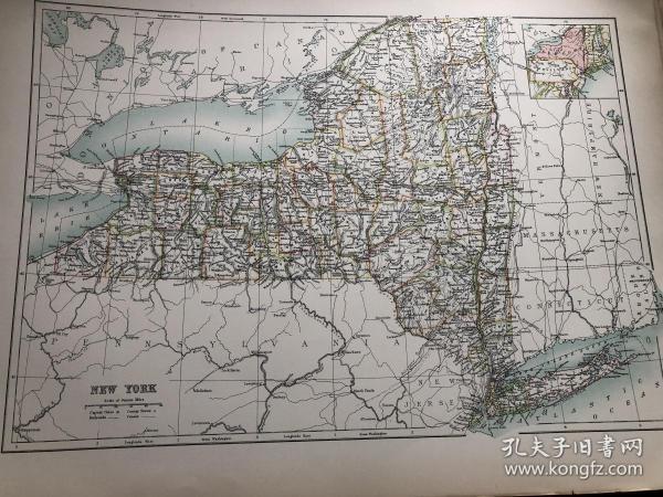 1895年 美国纽约州地图
