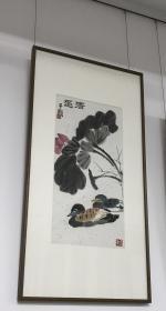 """著名版画家 画家夏子颐先生绘画""""清趣""""68x35cm 镜框"""