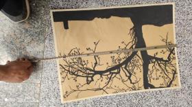 名人字画;美术手绘版画样稿一张黑色树