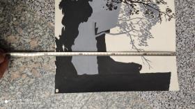 名人字画;美术手绘版画样稿一张黑色