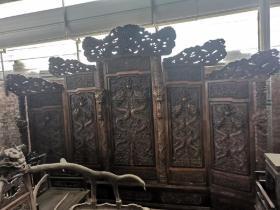 清代海南黄花梨雕龙屏风古董传世老黄花梨明清木器