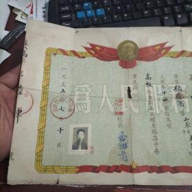 济南市经八路小学 1955年毕业证书8-301