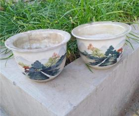 民国老瓷器手绘一对浅浆彩花盆老瓷器老物件老货古玩杂项摆件-74179